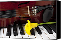 Keyboard Canvas Prints - Calla lily and violin on piano Canvas Print by Garry Gay