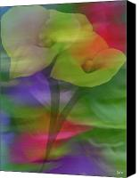 Calla Lily Mixed Media Canvas Prints - Calla Lily Escape Canvas Print by Debra     Vatalaro