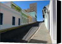 Puerto Rico Photo Canvas Prints - Calle Norzagaray San Juan Puerto Rico Canvas Print by George Oze