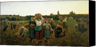 Home Painting Canvas Prints - Calling in the Gleaners Canvas Print by Jules Breton