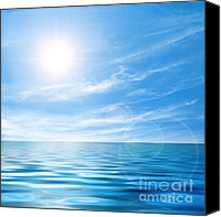 Wet Canvas Prints - Calm seascape Canvas Print by Carlos Caetano