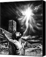 Jesus Drawings Canvas Prints - Calvary Canvas Print by Peter Piatt