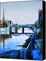 City Of Bridges Painting Canvas Prints - Cambridge Summer Morning Canvas Print by Hanne Lore Koehler