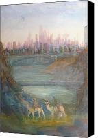 River Framed Prints Painting Canvas Prints - Camel Stop Canvas Print by John Scholey