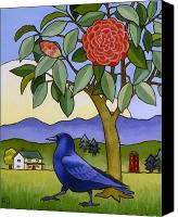 Camellia Canvas Prints - Camellia and Crow Canvas Print by Stacey Neumiller