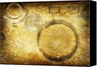 Materials Canvas Prints - Camera Pattern On Old Grunge Paper Canvas Print by Setsiri Silapasuwanchai