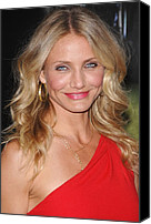 Gold Earrings Photo Canvas Prints - Cameron Diaz At Arrivals For The Green Canvas Print by Everett
