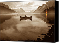 Indian Canoe Canvas Prints - Camp Waters Canvas Print by Robert Foster