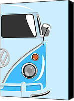Vw Camper Van Digital Art Canvas Prints - Camper Blue 2 Canvas Print by Michael Tompsett