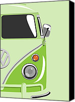 Vw Camper Van Digital Art Canvas Prints - Camper Green 2 Canvas Print by Michael Tompsett