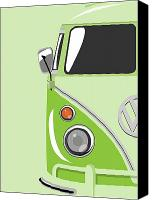 Vw Camper Van Digital Art Canvas Prints - Camper Green Canvas Print by Michael Tompsett