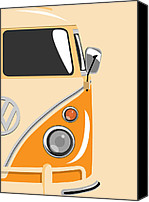 Vw Camper Van Digital Art Canvas Prints - Camper Orange 2 Canvas Print by Michael Tompsett