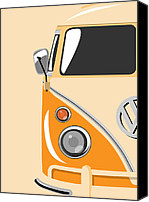 Vw Camper Van Digital Art Canvas Prints - Camper Orange Canvas Print by Michael Tompsett