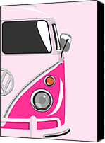 Kombi Canvas Prints - Camper Pink 2 Canvas Print by Michael Tompsett