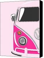 Vw Camper Van Digital Art Canvas Prints - Camper Pink Canvas Print by Michael Tompsett