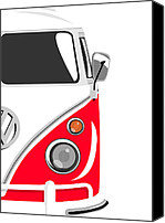 Vw Camper Van Digital Art Canvas Prints - Camper Red 2 Canvas Print by Michael Tompsett