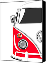 Kombi Canvas Prints - Camper Red Canvas Print by Michael Tompsett