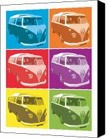 Vw Camper Van Digital Art Canvas Prints - Camper Van Pop Art Canvas Print by Michael Tompsett