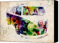 Vw Camper Van Digital Art Canvas Prints - Camper Van Urban Art Canvas Print by Michael Tompsett