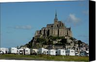 Campervan Canvas Prints - Campervans parked beneath Mont Saint-Michel Canvas Print by Sami Sarkis