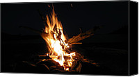 Forest Pyrography Canvas Prints - Campfire On A Beach Canvas Print by Waldemar Okon