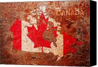 Flag Mixed Media Canvas Prints - Canada Flag Map Canvas Print by Michael Tompsett