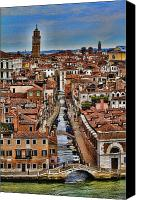 Venetian Canvas Prints - Canal and bridges in Venice Italy Canvas Print by David Smith