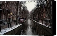 Potography Canvas Prints - Canal In Amsterdam Canvas Print by Arline Wagner