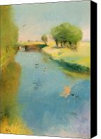 Landscapes Pastels Canvas Prints - Canal Canvas Print by Lesser Ury