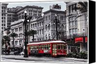 Old Photo Canvas Prints - Canal Street Trolley Canvas Print by Tammy Wetzel