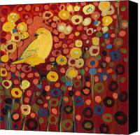 Red Painting Canvas Prints - Canary in Red Canvas Print by Jennifer Lommers