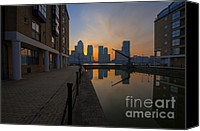 2012 Digital Art Canvas Prints - Canary Wharf Sunrise Canvas Print by Donald Davis