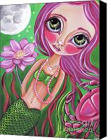 Jasmine Painting Canvas Prints - Cancer - Zodiac Mermaid Canvas Print by Jaz Higgins