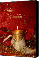Christmas Cards Canvas Prints - Candle Light Christmas card Canvas Print by Aimelle ML