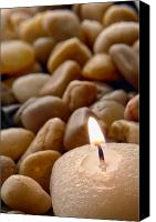 Pebbles Canvas Prints - Candle on the Rocks Canvas Print by Olivier Le Queinec