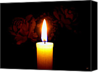 Luminous Canvas Prints - Candlelight And Roses Canvas Print by Will Borden