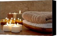 Burning Candles Canvas Prints - Candles and Towels in a Spa Canvas Print by Olivier Le Queinec