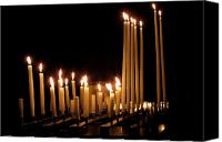 Burning Candles Canvas Prints - Candles in Church Canvas Print by Olivier Le Queinec