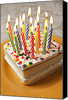 Heat Canvas Prints - Candles on birthday cake Canvas Print by Garry Gay