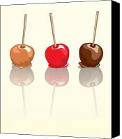 Illustration Canvas Prints - Candy apples reflected Canvas Print by Jane Rix