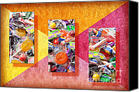 Ball Mixed Media Canvas Prints - Candy Is Dandy Triptych Canvas Print by Andee Photography