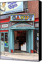 Entrance Door Canvas Prints - Candy Store Cartoon Canvas Print by Sophie Vigneault