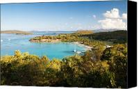 Sailboat Canvas Prints - Caneel Bay Panorama Canvas Print by George Oze