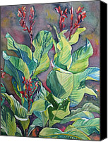 Canna Lilies Canvas Prints - Cannas Canvas Print by Ruth Greenlaw