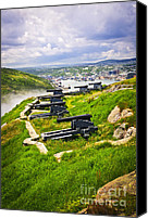 Cannon Canvas Prints - Cannons on Signal Hill near St. Johns Canvas Print by Elena Elisseeva