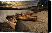 Beach Scenery Canvas Prints - Canoes On The Shore, Keswick, Cumbria Canvas Print by John Short