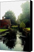 Stain Glass Digital Art Canvas Prints - Canterbury Canal in England Canvas Print by Mindy Newman