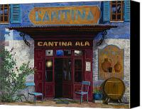 Street Scene Canvas Prints - cantina Ala Canvas Print by Guido Borelli