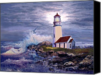 Shore Painting Canvas Prints - Cape Blanco Oregon Lighthouse on Rocky Shores Canvas Print by Gina Femrite
