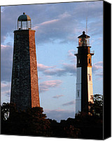 Lighthouses Canvas Prints - Cape Henry Lighthouses In Virginia Canvas Print by Skip Willits
